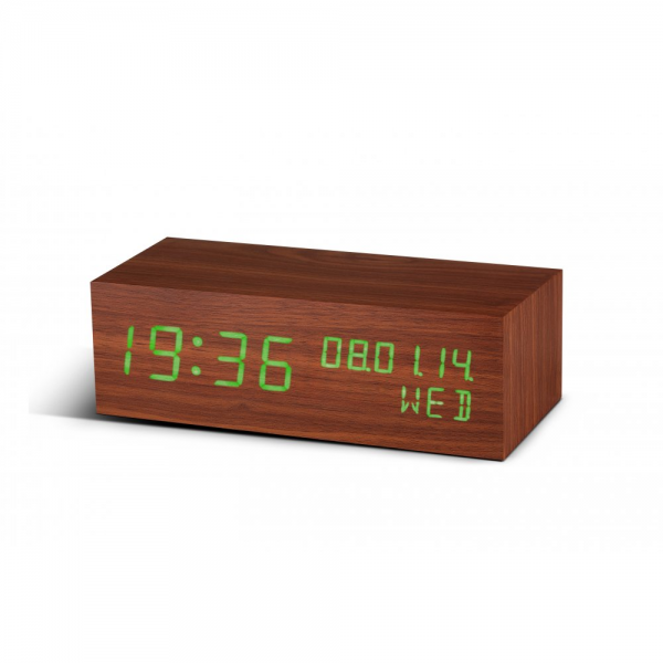 ... Rechargeable Square Walnut Wood Click Alarm Clock Digital Green LED