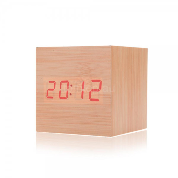 Morden Square LED Digits Digital Wood Wooden Alarm Desk Clock ...