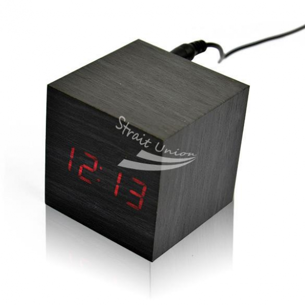 Square-Wood-Wooden-Red-Light-LED-Display-Sound-Activated-Digital-Alarm ...