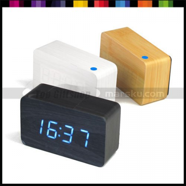 Blue LED Square Wooden Wood Desktop Table Digital Alarm Clock ...