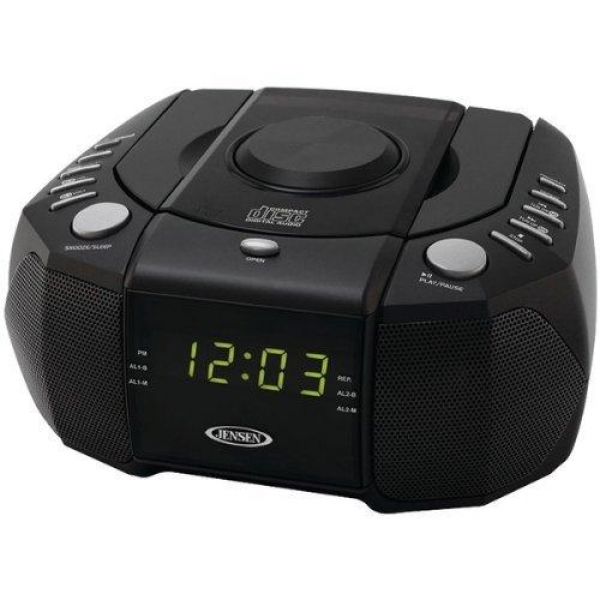 Jensen Jcr-310 Dual Alarm Clock Am/fm Stereo Radio With Top Loading Cd ...