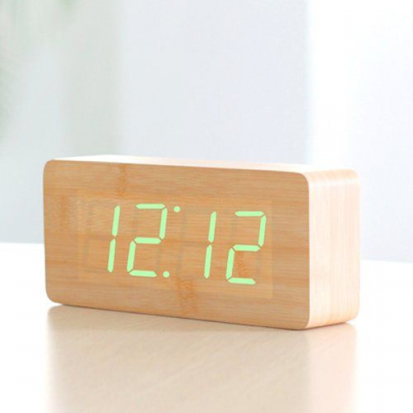HITO™ Wood Grain LED Alarm Clock - Time Temperature Date - Sound ...