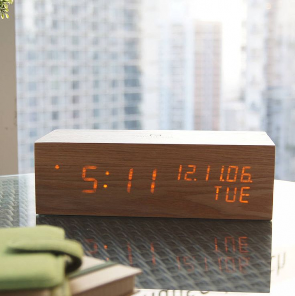 led oak wood alarm clock by gingko | notonthehighstreet.com