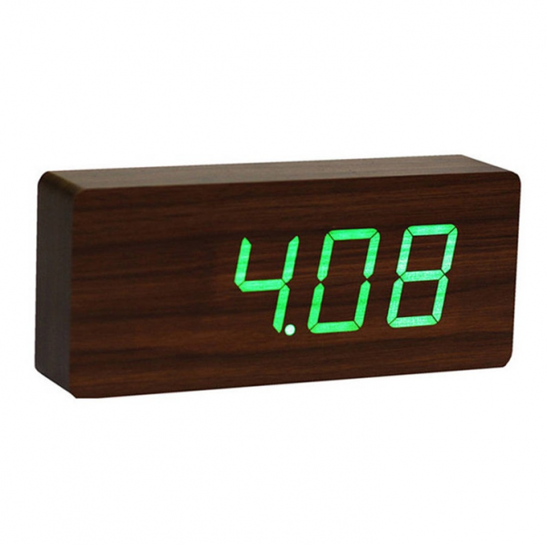 LED Walnut Slab Wooden Alarm Clock