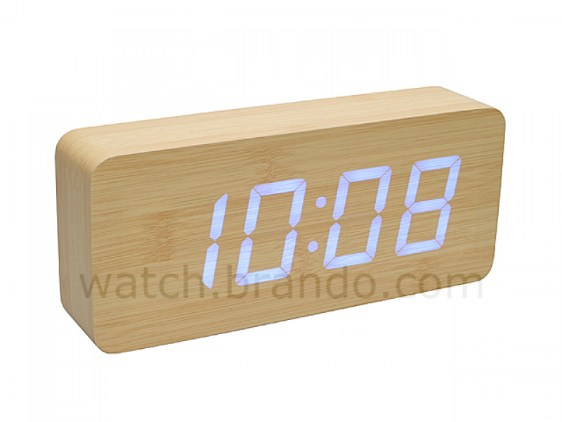 Wooden LED Alarm Clock (Oak)