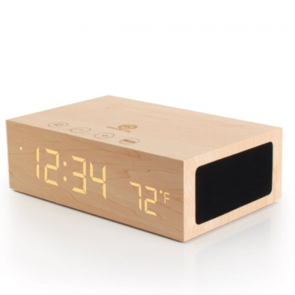 -TYM-Bluetooth-Wireless-Stereo-Speaker-Wooden-Alarm-Clock-w-LED-Time ...