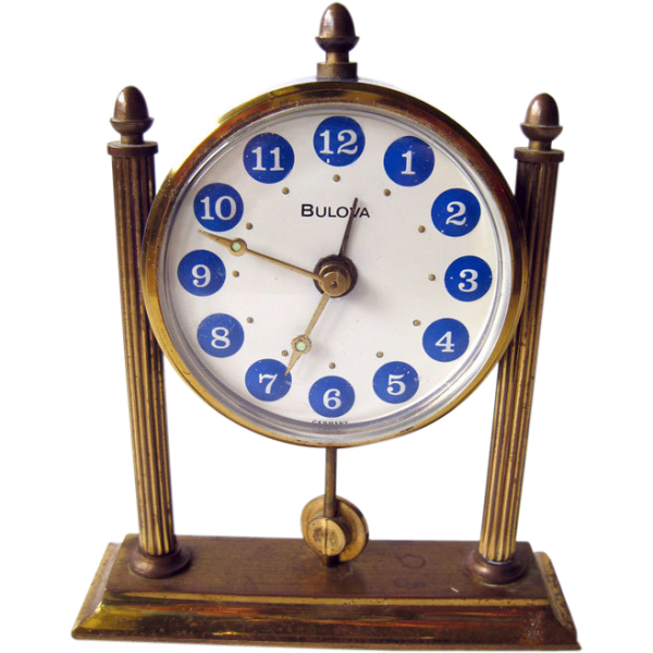 Bulova Blue Enameled Desk Alarm Clock / Working Condition Clock / from ...