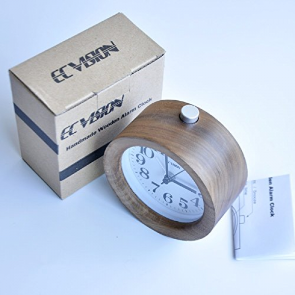 ... Snooze Wood Alarm Clock with nightlight-Black Walnut Wooden Clock