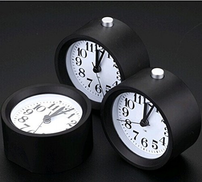 ... Silent Table Snooze Beech Alarm Clock With Nightlight (black