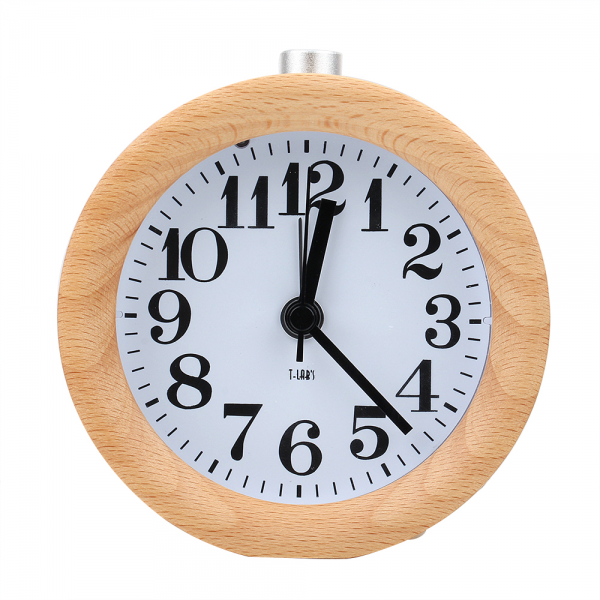 Novelty Handmade Small Round Lazy Snooze Bedside Wood Alarm Clock With ...