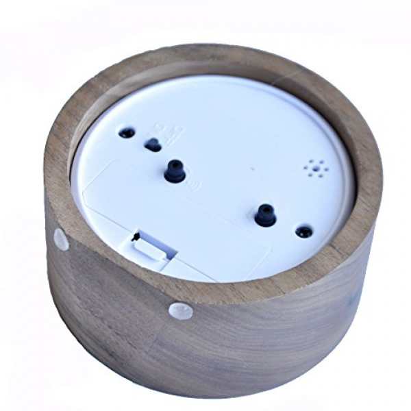 ... Small Round Silent table Snooze Wood Alarm Clock with nightlight-Black