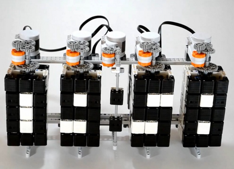 The Time Twister is an alarm clock consisting of rotating lego blocks ...