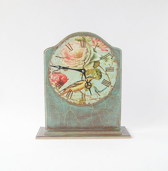 Clock Table / Vintage Style Desk Clock / Brown Mint Green / Bird and ...