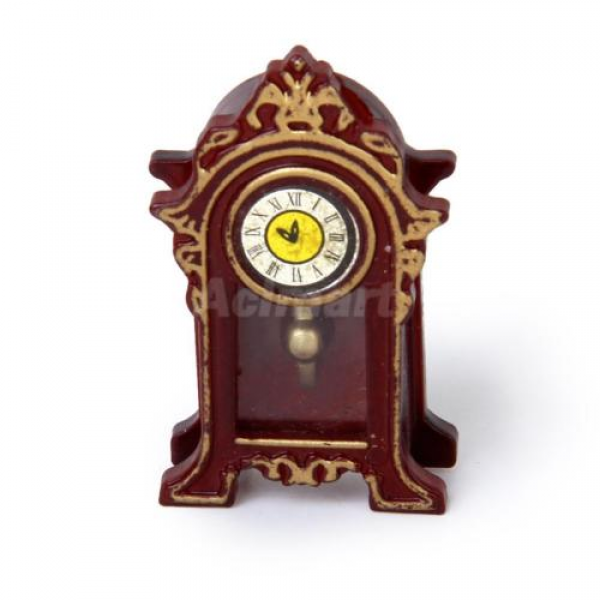 ... 12 Dollhouse Old Fashioned Wooden Desk Mantel Clock Miniature Classic