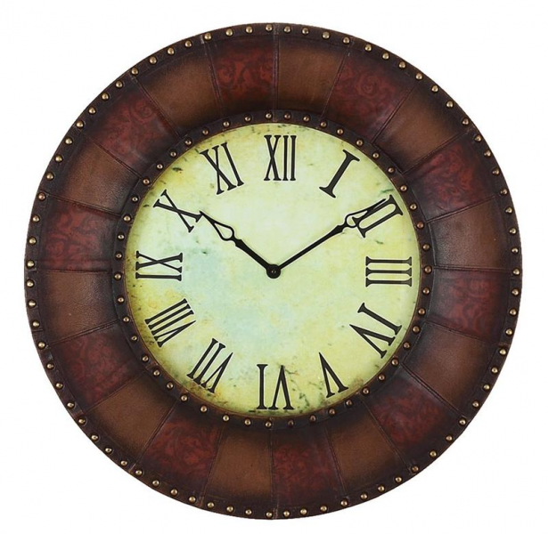 Large Wall Clocks > Wall Clocks > 32 Wood & Leather Wall Clock
