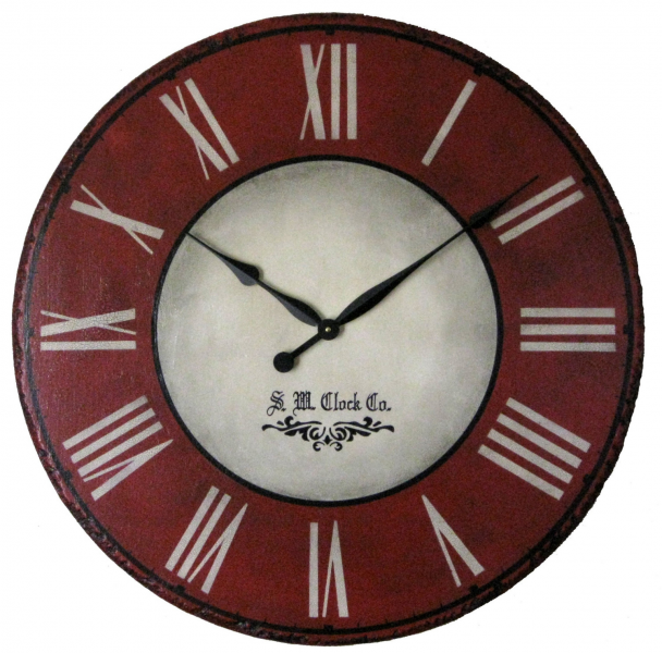 36 in Devonshire Large Wall Clock Antique style Red by Klocktime