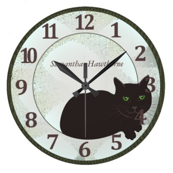 Black Cat Custom Large Round Wall Clock | Zazzle