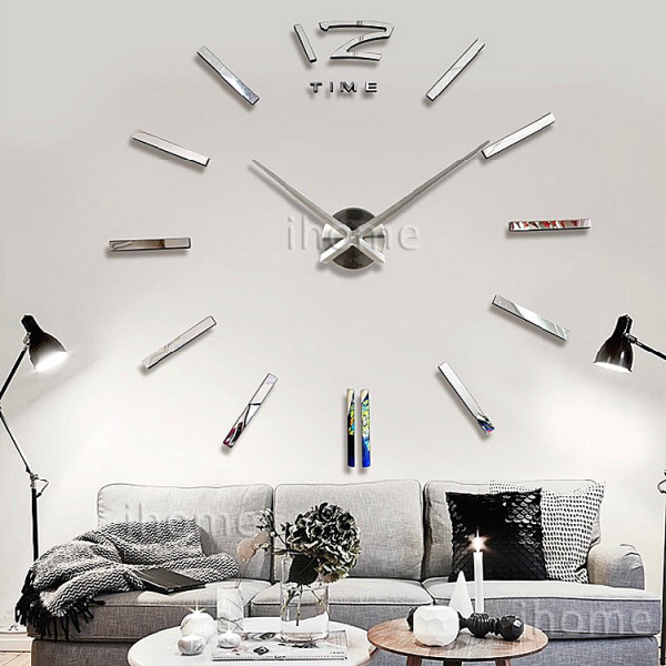 Home DIY decoration large quartz Acrylic mirror wall clock, Safe 3D ...