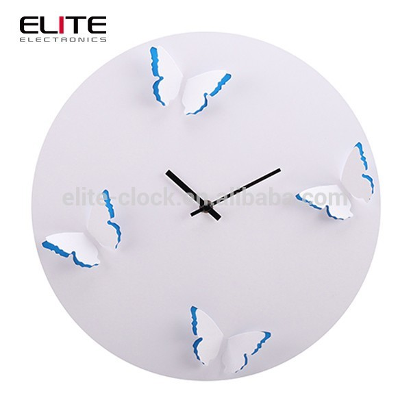 Round frameless quartz MDF 3d wall clocks with 3D butterfly