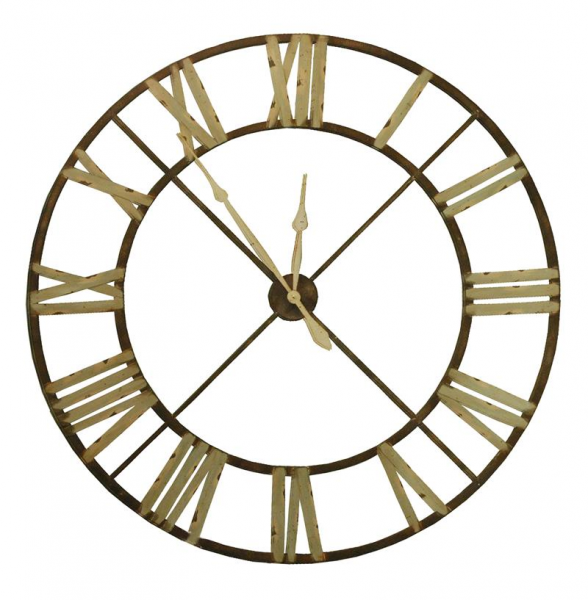 French Country Large Rusted Iron Roman 48 D Wall Clock