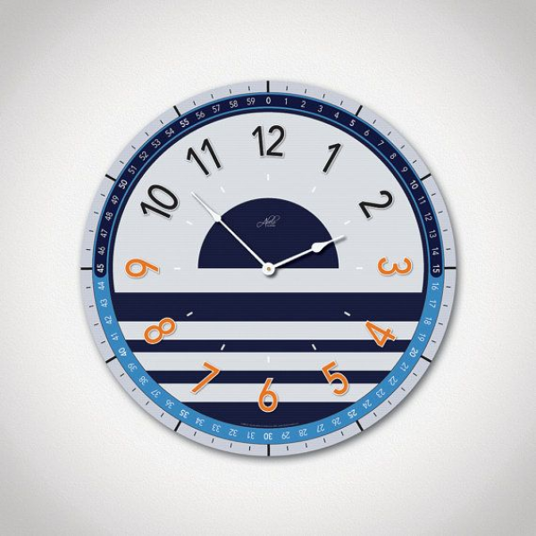 Large Modern Wall Clock in Dark Blue, Gray & Orange. Nautical Clock ...
