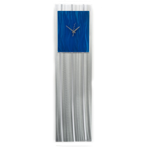 Contemporary Blue Unique Metal Wall Clock 'Blue Vibe' - Modern Artwork ...
