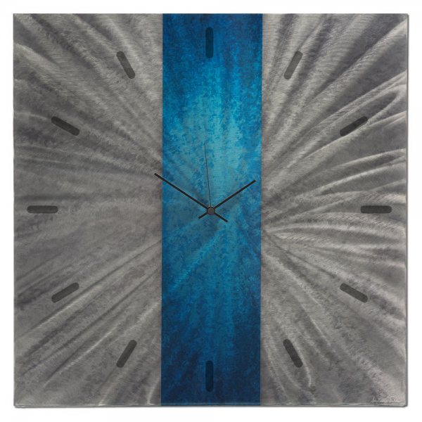 Modern Blue Silver Wall Clock Contemporary Decor Large Metal Abstract ...