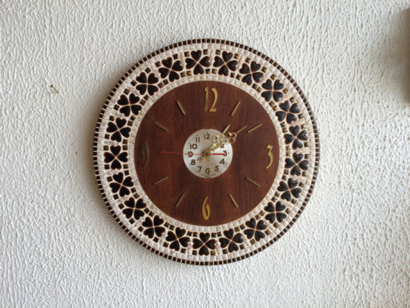 Large Vintage Mid Century Wall Clock with Ceramic Mosaic Tile and ...