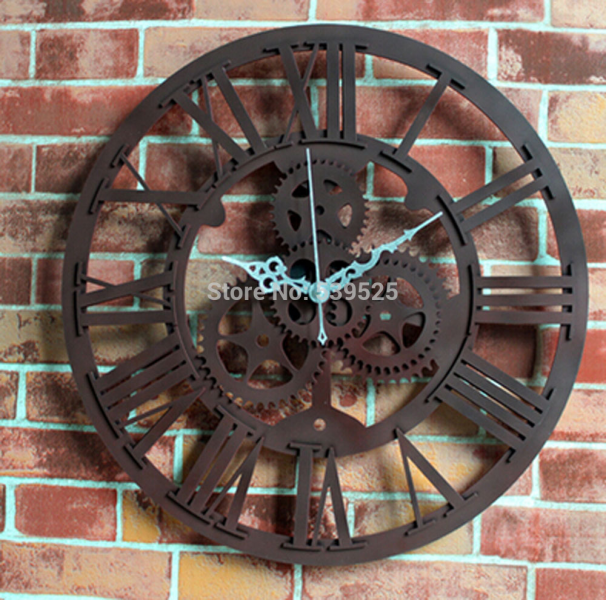 3D Gear Wall Clock Large Vintage Wall Clocks Home Decoration Hanging ...