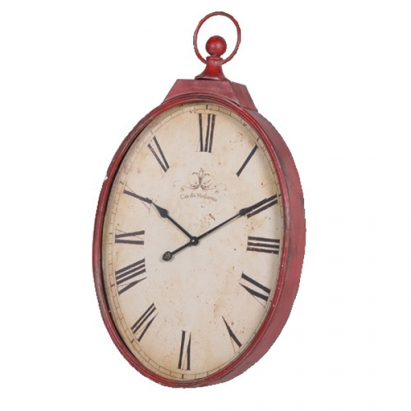 Large Distressed Oval Wall Clock in Red
