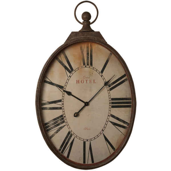Large Oval Shaped Rustic Oversize Hotel Wall Clock