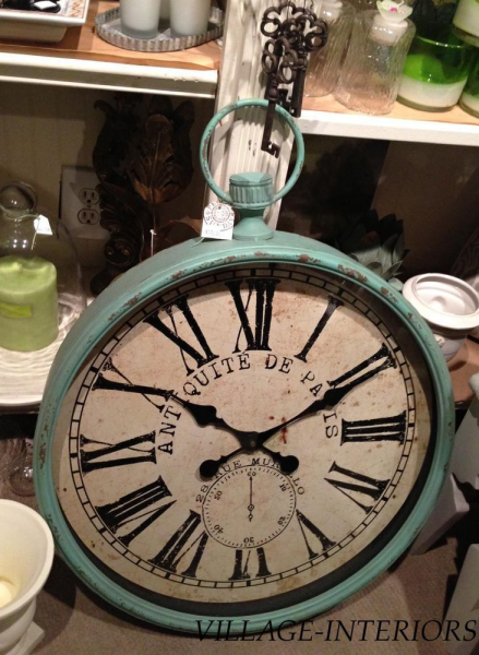 Large French Cottage Farmhouse Aqua Gallery Wall Clock Pocket Watch S ...