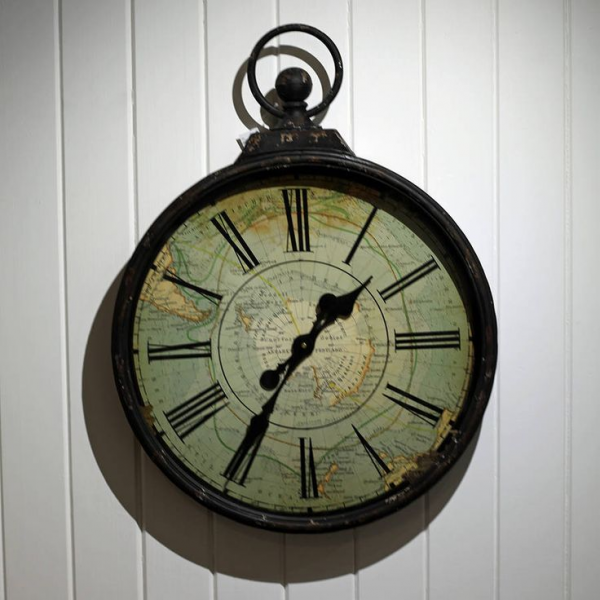 antique style pocket watch large wall clock with map