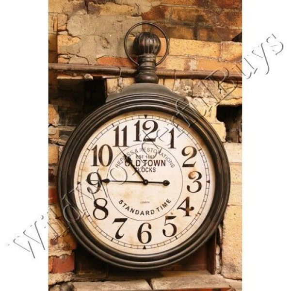 VINTAGE STYLE Oversized Pocket Watch WALL CLOCK Industrial NEW 0
