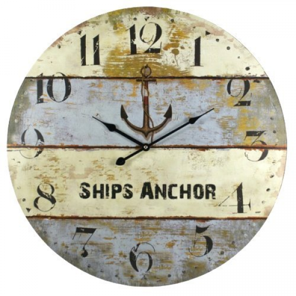 ... Anchor Harbormaster Beach Coastal Decor Extra Large Wall Clock - 23-in