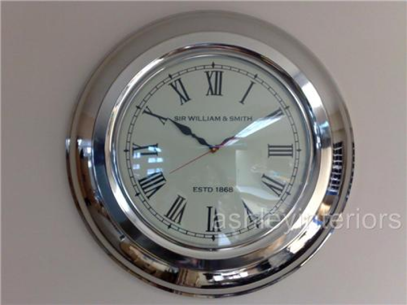 Large Chrome Wall Clock Sir William & Smith, Large Wall Clock, Chrome ...