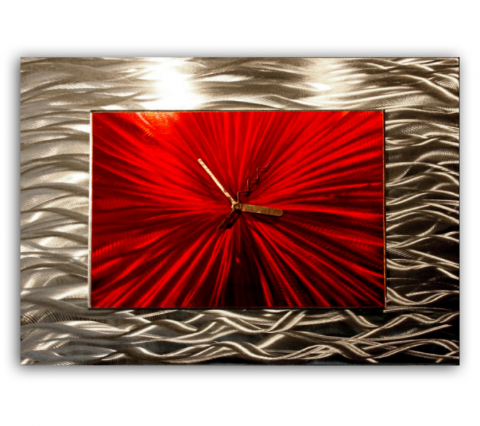 Sale | Red Decorative Wall Clock 'Red Modular' - 18x12 in. - Abstract ...