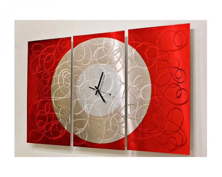 Red & Silver Modern Metal Wall Clock - Abstract Functional Art - Large ...