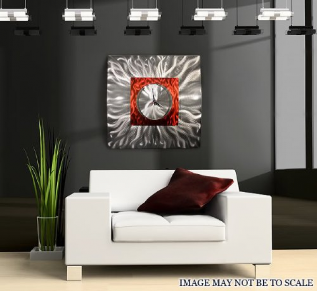 Buy Now Large silver and red metal wall clock, fire elemental abstract ...