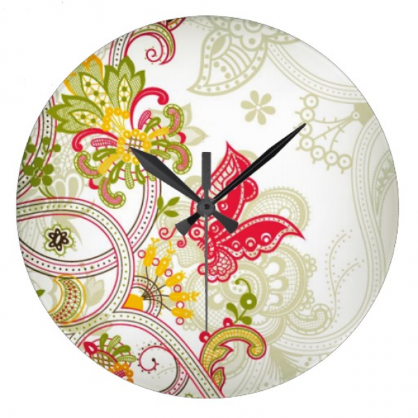 Abstract Red Colorful Lace Butterfly Wall Clock | Zazzle