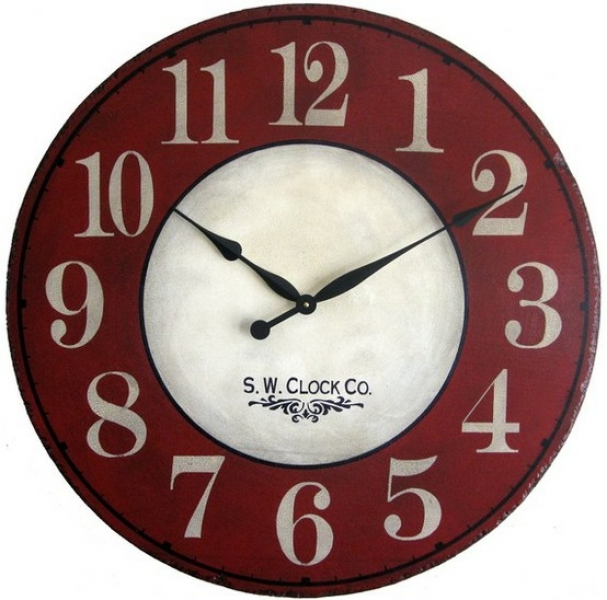 Large vintage red wall clock by robert.predan