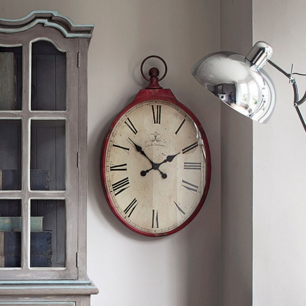 Red Oval Clock - Rustic - Wall Clocks - by Graham and Green