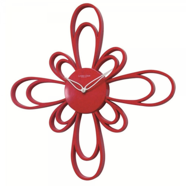 London Clock Co Large Red Petal Modern Wall Clock - London Clock Co ...