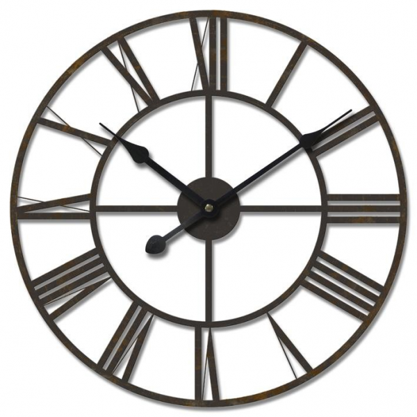 ... Huge-60cm-THE-IRON-TOWER-Large-Metal-Wall-Clock-w-Roman-Numeral-Dials