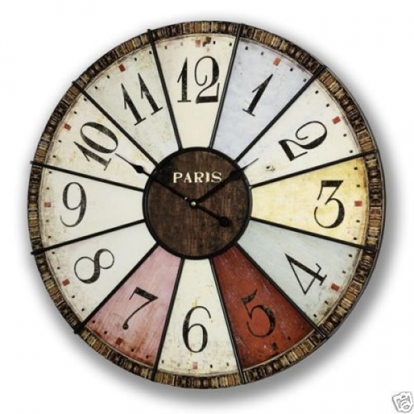 24 X Large French La Sorbonne Multi Colour Chic Shabby Wall Clock ...