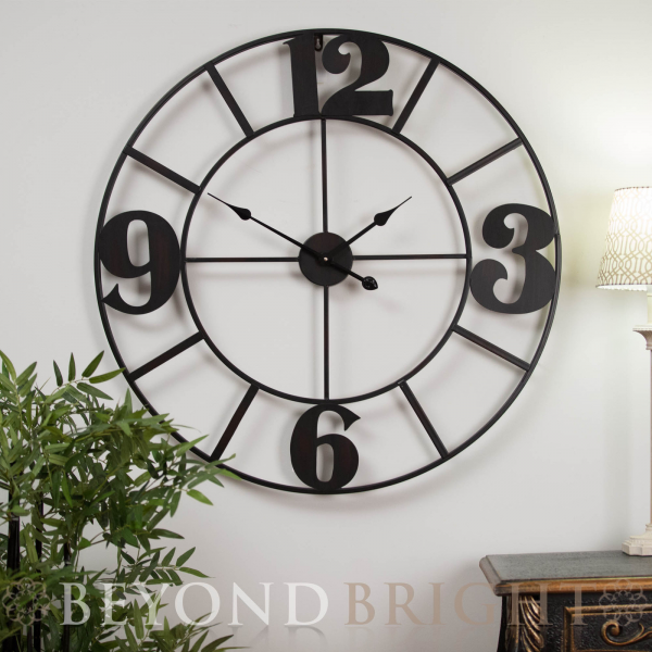 Large 80cm Metal Lola Wrought Iron Wall Clock Vintage French ...