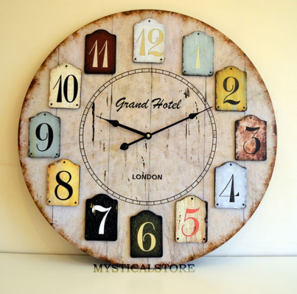 60cm X Large LONDON Wood Wall Clock Vintage Retro Antique Shabby Chic ...