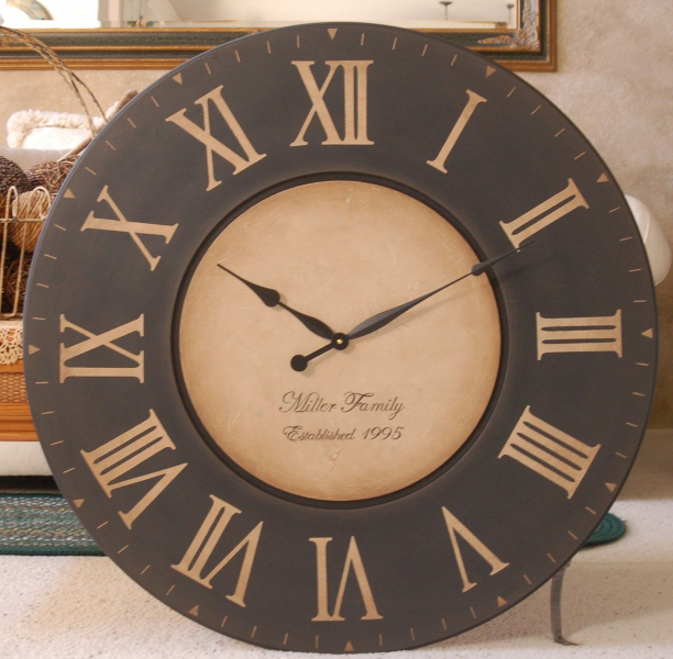 Large Wall Clock 30 Antique Gallery Tuscan Personalized Rustic Big ...