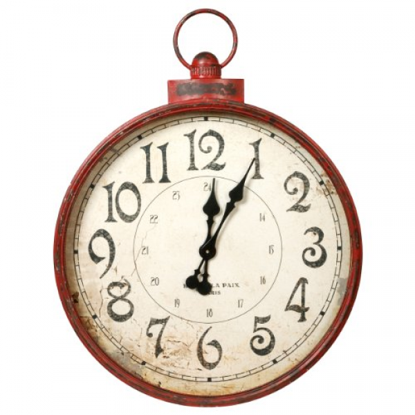 Large distressed red metal wall clock with large numbers that makes ...