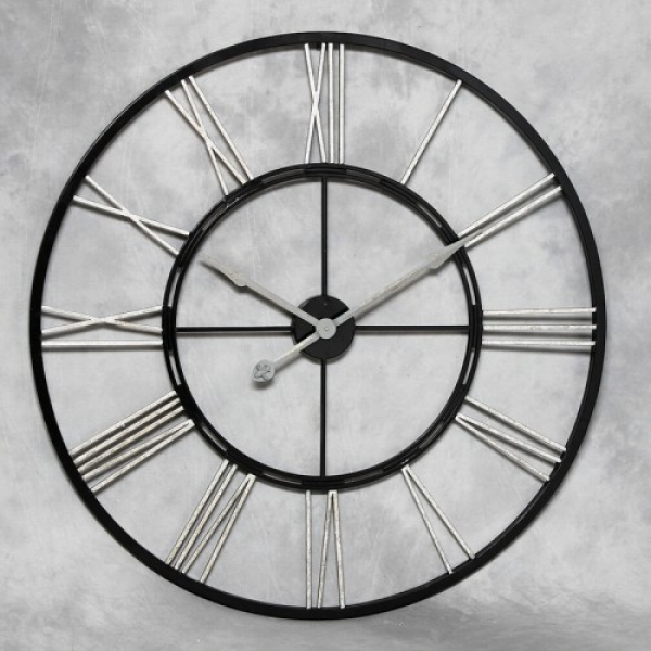 clock the large black and silver skeleton wall clock has roman ...